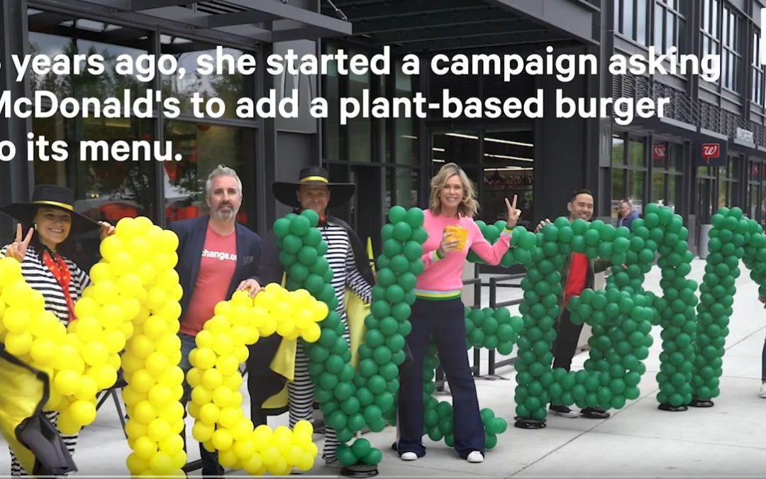 Kathy Freston delivers 220,000 customer requests for a plant-based burger to McDonald's HQ